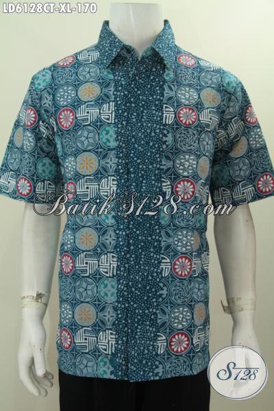 Sedia Kemeja Batik Modern Kwalitas Bagus Bahan Adem, Produk Hem Batik Lengan Pendek Kwalitas Istimewa Untuk Lelaki Dewasa Tampil Gagah Dan Tampan, Size XL