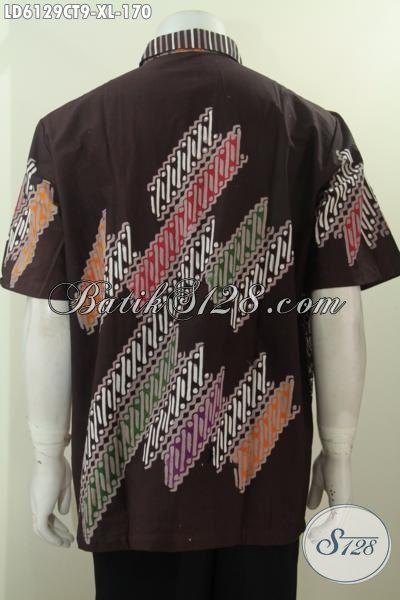 Batik Hem Lengan Pendek Warna Coklat, Busana Batik Halus Tidak Pakai Furing Proses Cap Tulis Untuk Pria Dewasa Terlihat Awet Muda, Size XL