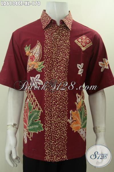 Jual Baju Batik Lelaki Dewasa Dengan Motif Anak Muda, Pakaian Batik Trendy Warna Merah Proses Cap Tulis Untuk Tampil Modis Dan Keren, Size XL