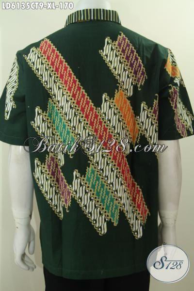 Baju Hem Batik Motif Kombinasi, Busana Batik Modis Proses Cap Tulis Untuk Lelaki Dewasa, Cocok Buat Kerja Dan Acara Pesta [LD6135CT-XL]