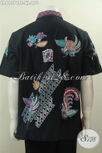 Aneka Pakaian Batik Pria Trend 2016, Hem Batik Halus Proses Cap Tulis Warna Kombinasi Bahan Adem Untuk Kerja Dan Acara Santai, Size XL