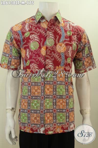 Kemeja Batik Lengan Pendek Motif Kombinasi, BajuBatik Lelaki Muda Desain Berkelas Proses Cap Tulis Untuk Tampil Beda, Size M