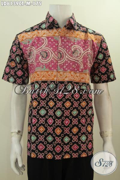 Kemeja Keren Model Lengan Pendek Motif Terbaru, Busana Batik Pria Size M Proses Cap Tulis Bahan Adem Harga 175K