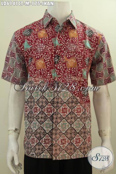 Hem Batik Keren Motif Ikan, Pakaian Batik Trendy Untuk Anak Muda Yang Ingin Tampil Modis Dan Gaul, Berbahan Halus Proses Cap Tulis Harga 100 Ribuan, Size M
