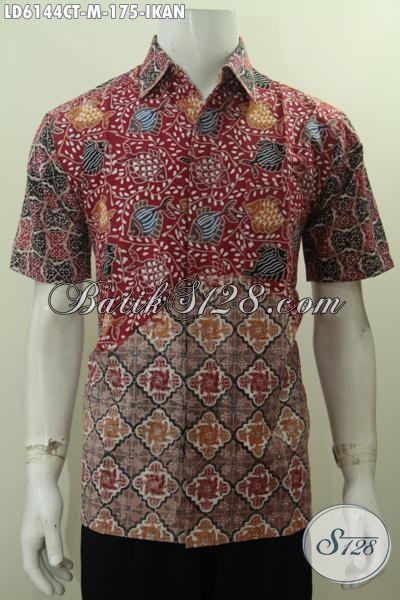 Jual Online Baju Batik Cowok Motif 2016, Busana Keren Kwalitas Istimewa Harga Terjangkau Proses Cap Tulis Model Lengan Pendek, Size M