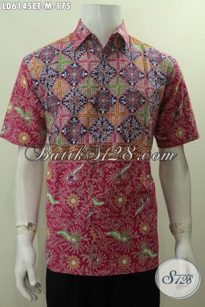 Kemeja Batik Keren Pria Muda, Produk Hem Batik Halus Motif Unik Proses Cap Tulis Ukuran M, Modis Buat Gaul