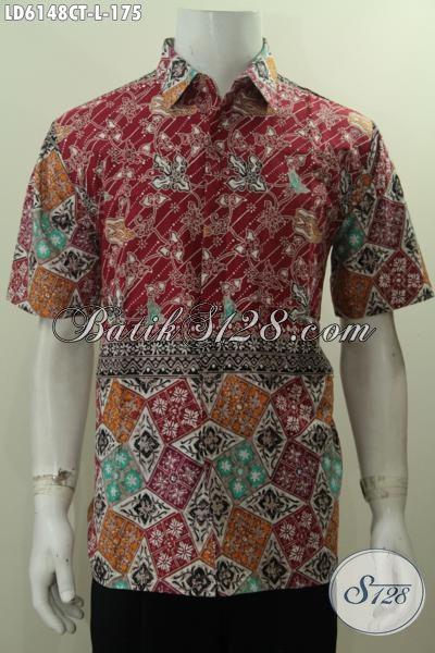 Baju Batik Seragam Kerja Cowok Ukuran L, Hem Batik Halus Modis Proses Cap Tulis Nan Istimewa Untuk Pria Tampil Gagah Dan Modis, Size L