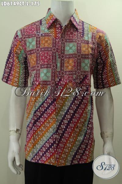 Pakaian Batik Cowok Terbaru Dengan Motif Kombinasi Modern Classic, Hem Batik Lengan Pendek Istimewa Proses Cap Tulis Untuk Penampilan Lebih Keren Dan Gaya, Size L