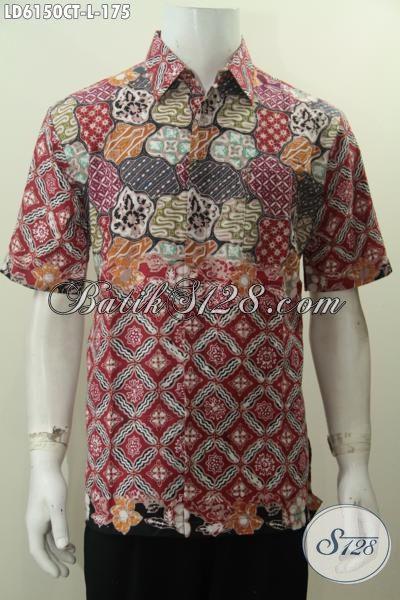 Produk Pakaian Batik Gaul Istimewa Model Lengan Pendek Motif Bagus Dan Berkelas, Berbahan Halus Batik Cap Tulis Asli Buatan Solo Indonesia, Size L