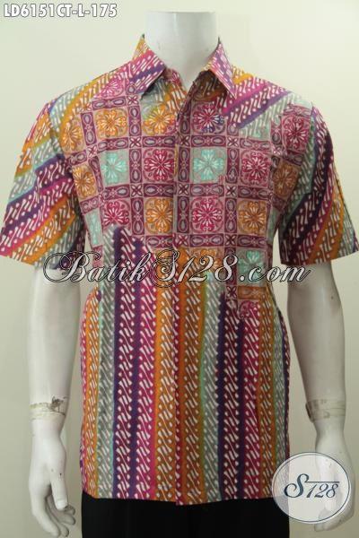 Hem Batik Keren Motif Kombinasi, Kemeja Batik Modern Lengan Pendek Kwalitas Bagus Trend Mode 2017, Size L