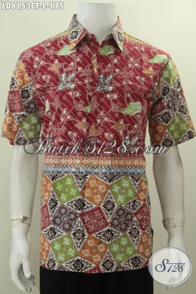 Baju Hem Batik Pria Ukuran L Dengan Kombiansi Dua Motif Berpadu Warna Moder Nan Mewah, Berbahann Halus Proses Cap Tulis Size L Harga 175K