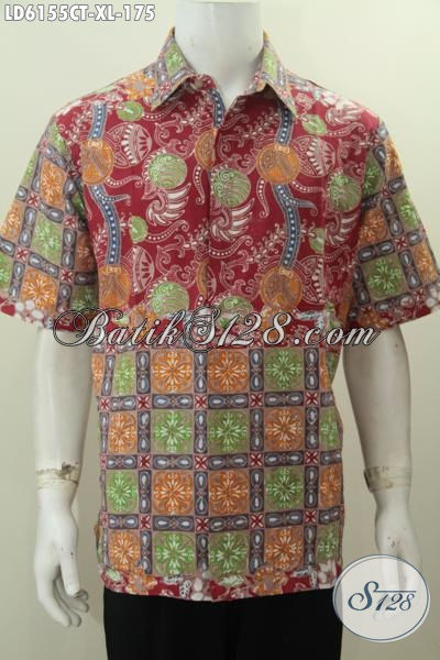 Baju Batik Motif Unik Kwalitas Bagus Harga Terjangkau, Hem Batik Pria Lengan Pendek Terkini Proses Cap Tulis Penunjang Penampilan Lebih Macho [LD6155CT-XL]