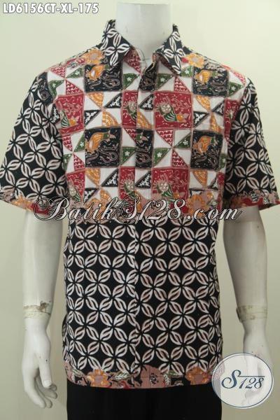 Jual Online Batik Hem Keren Modern Buatan Solo Desain Motif Berkelas Model Lengan Pendek Ukuran XL