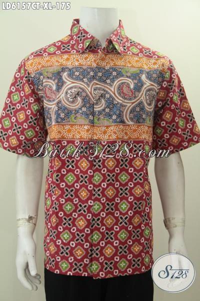 Hem Batik Halus Lengan Pendek Ukuran XL, Pakaian Batik Solo Buat Lelaki Dewasa Proses Cap Tulis Dengan Motif Trendy Yang Menunjang Penampilan Semakin Kece [LD6157CT-XL]