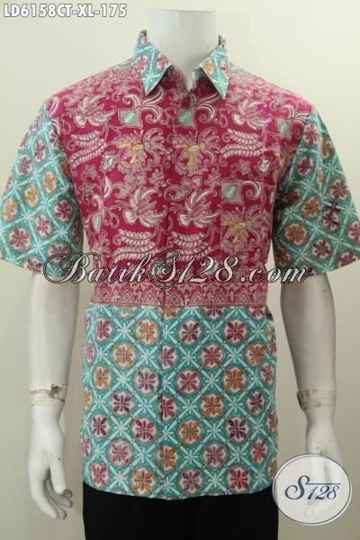 Sedia Baju Batik Lengan Pendek Cowok Ukuran XL, Pakaian Batik Istimewa Untuk Kerja Dan Pesta, Berbahan Halus Adem Proses Cap Tulis Harga 175K