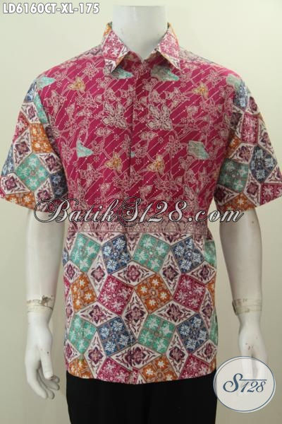 Hem Batik Cap Tulis Model Lengan Pendek Motif Kombinasi Yang Cocok Untuk Kerja Dan Hangout, Size XL