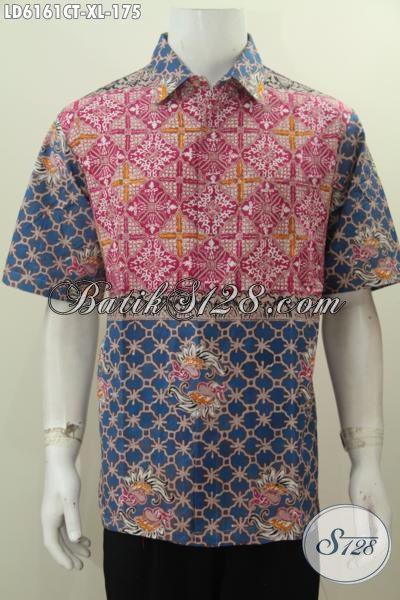 Baju Kemeja Batik Dual Motif Berpadu Dengan Kombinasi Warna Berkelas Proses Cap Tulis Untuk Tampil Keren Dan Gaul, Size XL