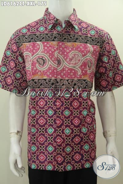 Baju Hem Batik Jumbo Untuk Pria Gemuk, Pakaian Batik Istimewa Model Lengan Pendek Proses Cap Tulis Bahan Adem Motif Trendy Dan Berkelas, Size XXL
