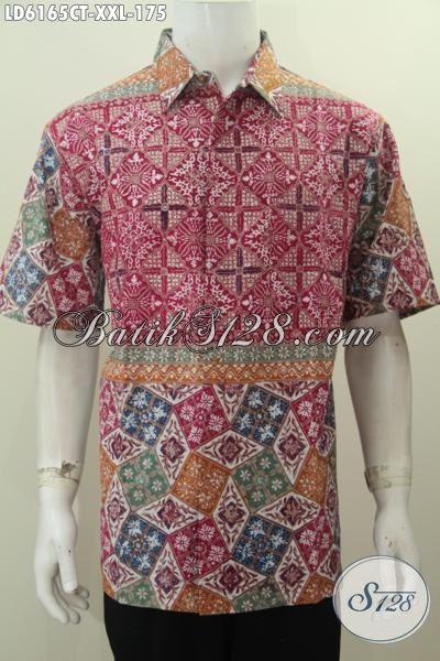 Kemeja Batik 3L Motif Kombinasi, Pakaian Batik Kerja Desain Modern Warna Trendy Bikin Pria Gemuk Terlihat Tampan Modis Dan Mempesona [LD6165CT-XXL]