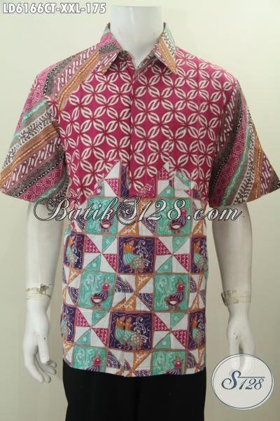Hem Batik Pria Gemuk, Baju Batik Keren Halus Proses Cap Tulis Motif Istimewa Untuk Tampil Keren Dan Modis, Size XXL