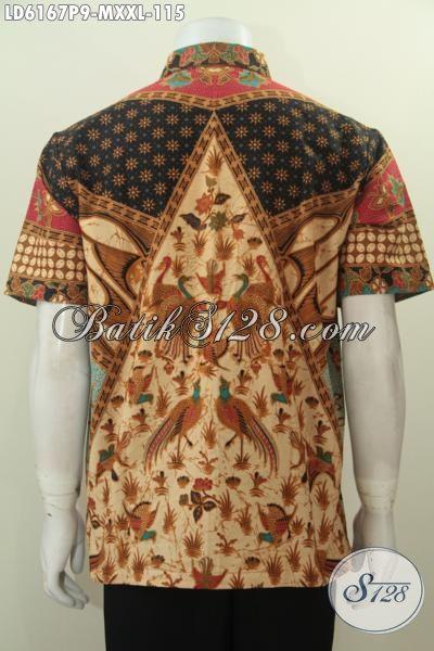 Baju Batik Elegan Lengan Pendek Motif Sinaran, Pakaian Batik Klasik Proses Printing Model Lengan Pendek Yang Elegan Untuk Kerja Dan Kondangan [LD6167P-XXL]