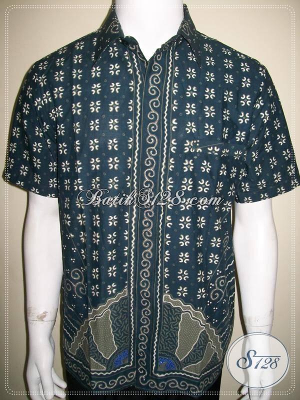 Baju Batik Keren Warna Biru Salem Kemeja Pria Lengan