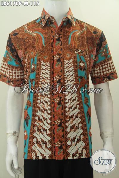 Sedia Hem Batik Halus Lengan Pendek Motif Sinaran, Baju Batik Klasik Untuk Kerja Kwalitas Istimewa Harga 115K, Size M