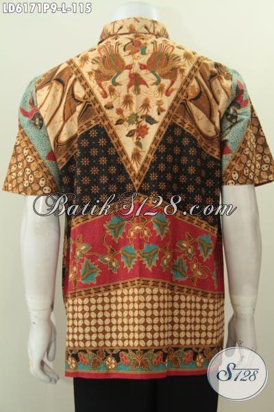 Jual Kemeja Batik Online Untuk Seragam Kerja, Berbahan Halus Proses Printing Motif Sinaran Harga 100 Ribuan, Size L