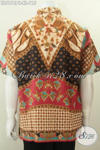 Hem Batik Lengan Pendek Motif Mewah, Baju Batik Klasik Lengan Pendek Proses Printing Istimewa Untuk Seragam Kerja Dan Baju Rapat, Size XL