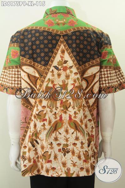 Pakaian Batik Jumbo Motif Sinaran, Kemeja Batik Lengan Pendek Elegan Proses Printing Desain Elegan Dan Berkelas Untuk Penampilan Lebih Gagah, Size XXL