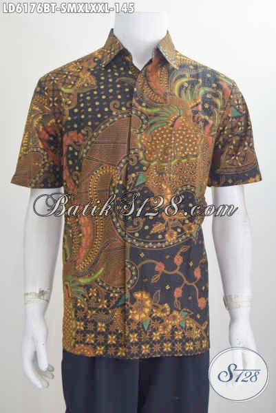 Kemeja Batik Klasik Nan Elegan, Busana Kerja Batik Halus Motif Mewah Proses Kombinasi Tulis Model Lengan Pendek Pilihan Ukuran Komplit