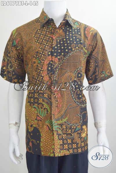 Jual Baju Hem Lengan Pendek Ukuran L Berbahan Batik Halus Proses Kombinasi Tulis, Pakaian Batik Elegan Untuk Tampil Lebih Gagah Dan Tampan