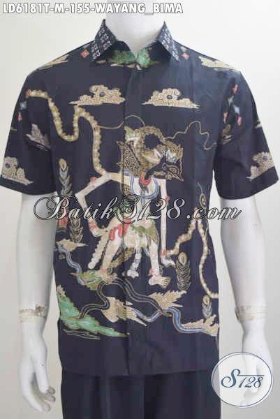 Hem Batik Wayang Bima, Baju Batik Lengan Pendek Proses Tulis Untuk Tampil Macho Harga 100 Ribuan, Size M
