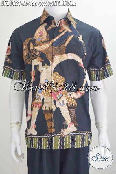 Batik Hem Lengan Pendek Proses Tulis Motif Wayag Bima, Pakaian Batik Keren Dan Modis Model Lengan Pendek Tampil Gagah dan Tampan, Size M