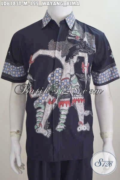 Sedia Produk Baju Batik Wayang Terbaru Motif Bima Proses Tulis Bikin Pria Terlihat Gagah Dan Tampan, Model Lengan Pendek Ukuran M [LD6183T-M]