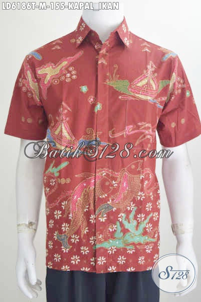 Baju Hem Batik Warna Merah Nan Mewah, Produk Busana Batik Proses Tulis Bahan Adem Harga 100 Ribuan Motif Kapal Dan Ikan Size M