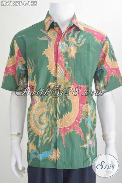 Produk Hem Batik Tulis Istimewa Harga 155 Ribuan, Berbahan Halus Motif Keren Warna Hijau Untuk Cowok Terlihat Mempesona, Size L