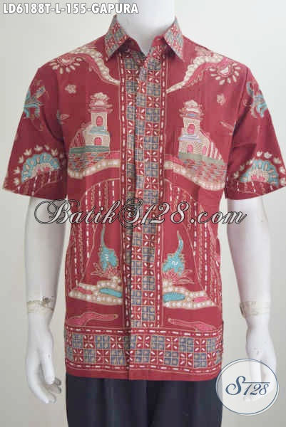 Jual Hem Batik Merah Motif Gapura, Baju Batik Modis Lengan Pendek Proses Tulis Bahan Adem Untuk Penampilan Lebih Kece, Size L
