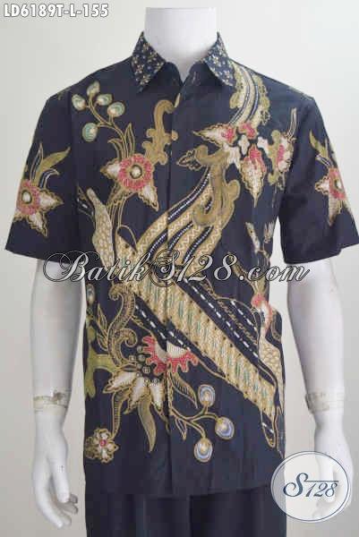 Baju Hem Batik Hitam Lengan Pendek, Pakaian Batik Keren Motif Terkini Proses Tulis Yang Membuat Cowok Terlihat Modis, Size L