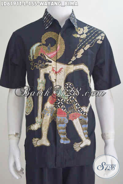 Baju Hem Lengan Pendek Motif Wayang Bima, Busana Batik Modis Bahan Halus Proses Tulis Model Lengan Pendek Cocok Buat Santai, Size L