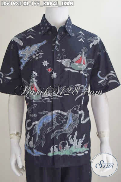 Produk Baju Batik Proses Tulis Harga Grosir, Kemeja Batik Lengan Pendek Ukuran XL Motif Kapal Dan Ikan Harga 155K Bisa Untuk Seragam Kerja