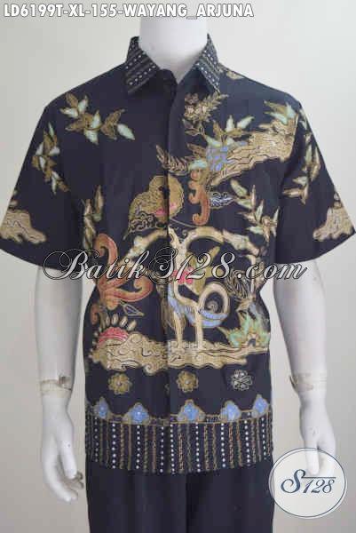 Jual Online Baju Batik Pria Motif Arjuna, Batik Hem Lengan Pendek Proses Tulis Berbahan Halus Harga Murmer, Size XL