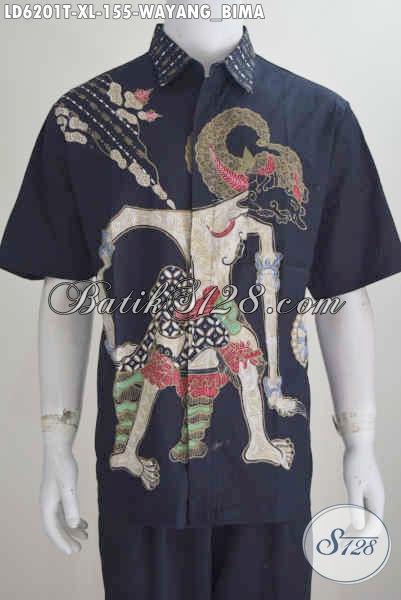 Sedia Hem Batik Fashion Warna Elegan Bahan Halus Proses Tulis, Baju Batik Lengan Pendek Motif Wayang Bima Harga 155K [LD6201T-XL]
