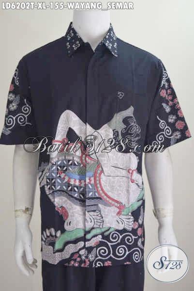 Online Shop Baju Batik Solo, Kemeja Batik Lengan Pendek Keren Halus Ukuran XL Motif Wayang Semar Bahan Halus Harga Murah Proses Tulis