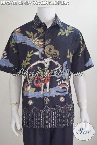 Pusat Produk Pakaian Batik Terlengkap, Sedia Hem Lengan Pendek Kwalitas Bagus Harga Murah Proses Tulis, Pakaian Batik Motif Wayang Arjuna Bahan Halus Bisa Tampil Macho Dan Ganteng Maksimal, Size XL
