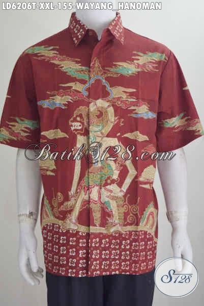 Baju Kemeja Lengan Pendek Merah Berbahan Batik Tulis Halus Motif Hanoman Harga 155K Ukuran Jumbo Buat Pria Gemuk