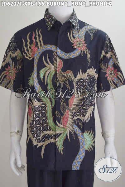 Kemeja Batik Lengan Pendek Keren Motif Burung Hong, Bati Hem Modis Proses Tulis Motif Burung Phoenix Kwalitas Bagus Ukuran XXL