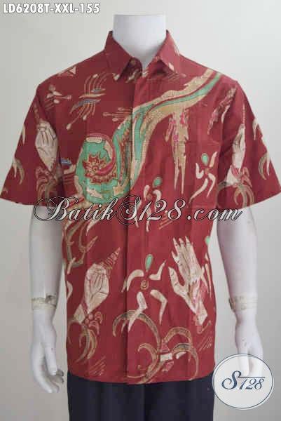 Produk Baju Batik Tulis Terkini, Hadir Dengan Warna Merah Motif Keren Size 3L, Baju Batik Lengan Pendek Istimewa Harga Biasa