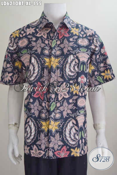 Baju Hem Batik Motif Bunga Warna Kombinasi, Produk Busana Batik Lengan Pendek Istimewa Proses Kombinasi Tulis Ukuran XL Untuk Penampilan Makin Modis
