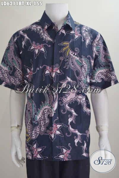 Baju Batik Modern Pria Dewasa, Busana Batik Modis Lengan Pendek Kombinasi Tulis Motif Unik Ukuran XL Untuk Tampil Lebih Mempesona